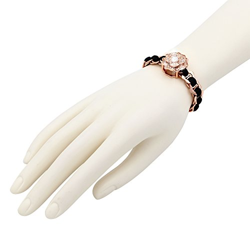 Kemstone Plaqué or Bling Strass Cristal Fleur Link Bracelets pour femme Cadeau, 21cm