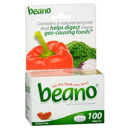 Beano Food Enzyme Dietary Supplement Tablets, 100 Tablets (Pack of 2) by Beano