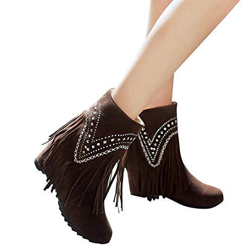 Piede Marrone Aumentare Caviglia Solido Caldo Giro Scarpe Sneaker Dito Donna Del Il Stivali Retro donne Nappa XZwq0qTO