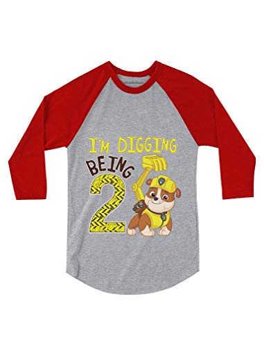 Paw Patrol Rubble Digging 2nd Birthday 3/4 Sleeve Baseball Jersey Toddler Shirt 3T Red (Birthday 3/4 Sleeve)