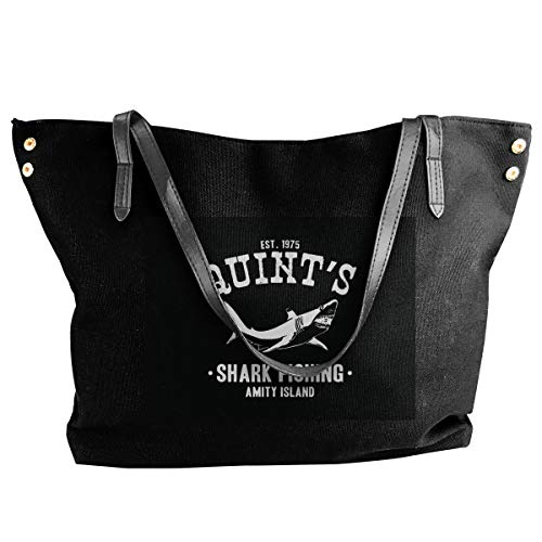 (SYAyeah Quints Shark Fishing Jaws Women Black Canvas Tote Shoulder Bag Top Handle Satchel Handbags)