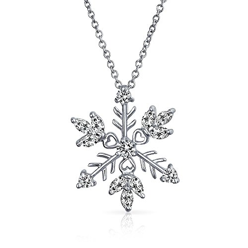 - CZ Heart Themed Snowflake Pendant Rhodium Plated Necklace 18 Inches