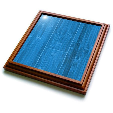 3dRose trv_264373_1 Image of Blue Bamboo Wood Trivet with Tile, 8 by 8''
