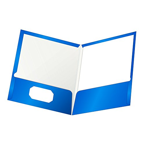 Oxford Laminated Twin-Pocket Folders, Letter Size, Blue, Holds 100 Sheets, Box of 25 (51701EE)