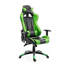 HOMCOM 360° Swivel Gaming Racing Office Chair with Waist Neck Cushions (Green/Black)
