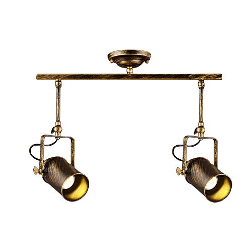 Vintage Dark Bronze Spotlight, Motent Industrial Retro Double Head Adjustable Metal Ceiling Lamp, Antique Flush Mounted Iron Wrought Minimalist Track Lighting Fixture for Parlor Bar Cabinet - 2-Light