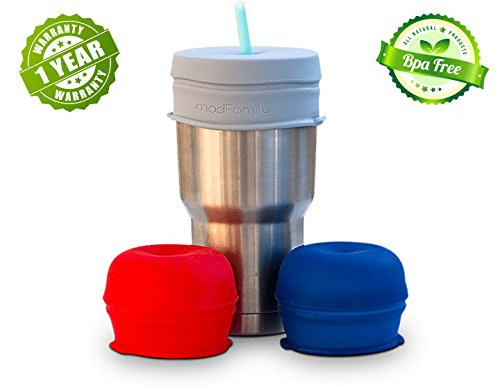 (O-Sip! Silicone Straw Lids - XL size (Pack of 3), stretches to cover Tumblers, Large Cups and Mugs, Yeti Rambler, Mason Jars; Spill proof, Reusable, Durable, Replacement Lid Accessory (Red,Navy,Gray))