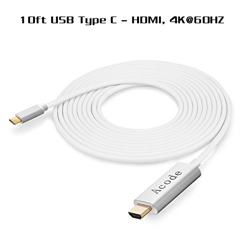 USB C to HDMI Cable, Acode 4K@60Hz 10ft USB Type C to HDMI Adapter HDTV Connector Cable Compatible with MacBook/MacBook Pro/iMac, Samsung Galaxy S9/S8/Note 8, Chromebook Pixel, Surface Book 2