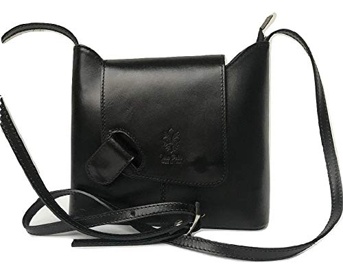 LaGaksta Isabella Italian Leather Crossbody Flap Purse Handbag Black