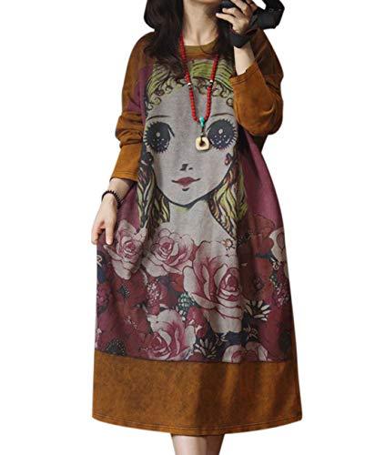 YESNO YL7 Women Long Maxi Casual Loose Retro Sweatshirt Dress Plus Size Figure Printed Long Sleeve
