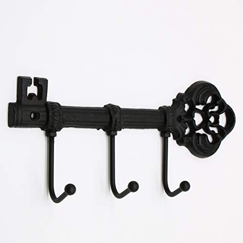 (WSSROGY Decorative Wall Mounted Skeleton Key Holder, Vintage Key with 3 Hooks, Rustic Cast Iron Key Holder with Screws)