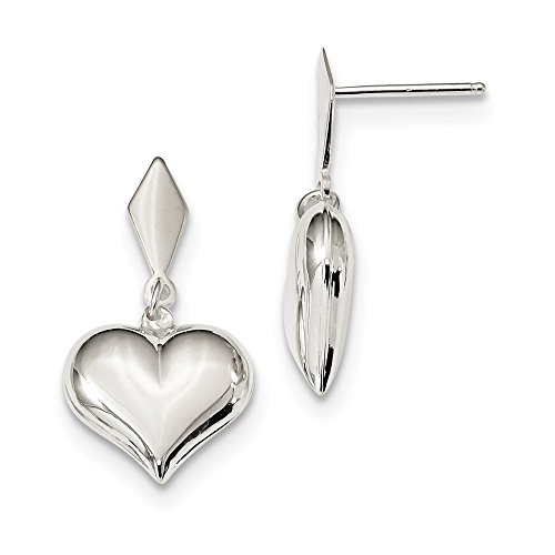 - Sterling Silver Polished Puffed Heart Dangle Post Earrings 27.7x13.4 mm