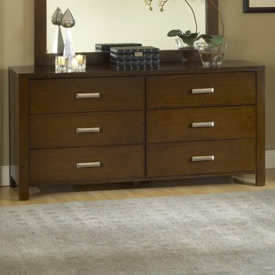 Modus Furniture RV2682 Riva 6-Drawer Dresser, Chocolate Brown - Modern design with oversize block posts and smooth side panels Hand-applied multi-step finish highlights the wood's natural grain Trimmed with elongated pyramid pulls in a satin nickel finish - dressers-bedroom-furniture, bedroom-furniture, bedroom - 41vbnaMRH4L. SS400  -