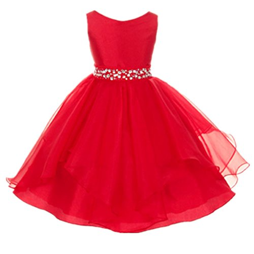 DreamHigh Wedding Flower Girls Crystals Waist Taffeta Pageant Dress Red 10T, 9-10 Years, Red (Christmas Pageant Dresses)