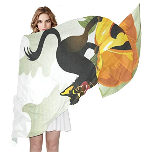 (Black Cat On Halloween Pumpkin And Ghost Sheer Scarves Shawl Wrap Outdoor Oblong Thin Chiffon Scarf For)