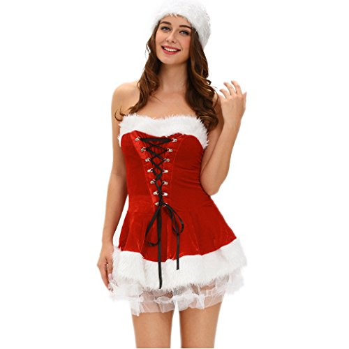 Lady Santa Outfit (Womens Christmas Santa Costume 3 Piece Red Velvet Christmas Corset Set Outfit Dress)