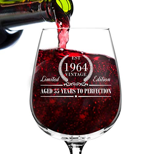 1964 Vintage Edition Birthday Wine Glass for Men and Women (55th Anniversary) 12 oz, Elegant Happy Birthday Wine Glasses for Red or White Wine | Classic Birthday Gift, Reunion Gift for Him or Her ()
