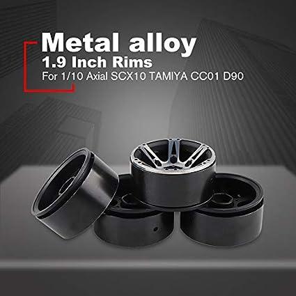 HoganeyVan 4Pcs 1.9 Llanta de Metal para TRX4 D90 D110 Defender Axial SCX10 90046 90047 1//10 RC Rock Crawler Parts