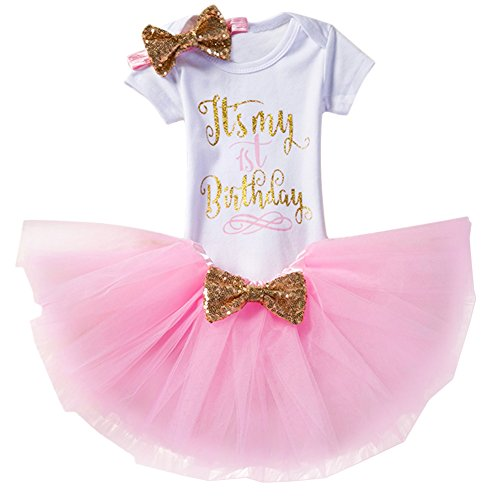 Baby Girl It's My 1st/2nd Birthday Cake Smash 3/4Pcs Shinny Sequin Bow Romper+Tutu Skirt+Headband+Leg Warmer Outfit, 3pcs 1st Birthday Pink (1 Year), One Size (Birthday Invite Message For 1 Year Old)