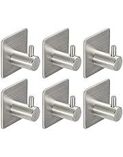 Monfish hook02 - Ganci adesivi, Porta accappatoio, Gancio asciugamano Cucina, Ganci appiccicosi, acciaio inossidabile, 6 pacchi