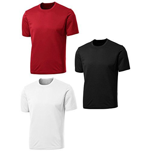 Men's 3 Pack Active Sport Quick Dry T-Shirts by TEKFIT (3 pcs Set) (XL, Black / White / Red)
