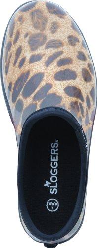 PRINCIPLE PLASTICS - Women's Garden Shoe, Black Print Rubber, Size 6 leopard print