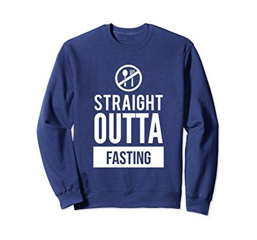 Unisex Straight Outta Fasting Funny Dieting Slogan Sweatshirt Small Navy
