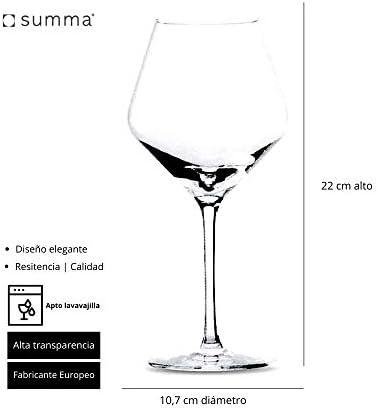 Summa - Copas de vino tinto. Set de 6 unidades. 550ml/55cl | Cristal, alta transparencia y borde fino | Uso en casa, restaurante y fiestas |