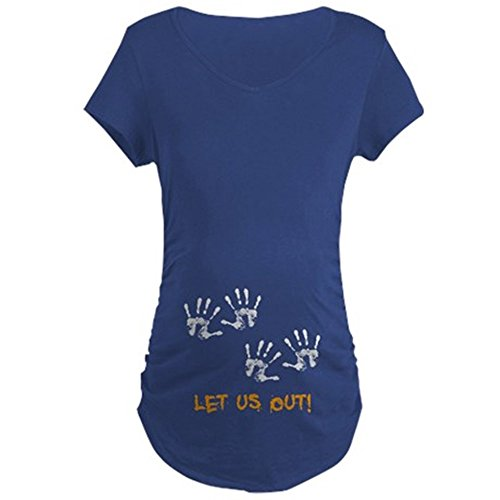 CafePress - Twin Hand Prints - Cotton Maternity T-shirt, Cute & Funny Pregnancy Tee