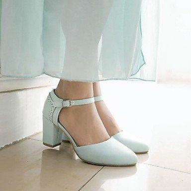 Pisos de la Mujer Primavera Verano Otoño Invierno Comfort novedad de la PU de cuero oficina y carrera banquete de boda y vestido de noche del tacón de aguja Otros Blue