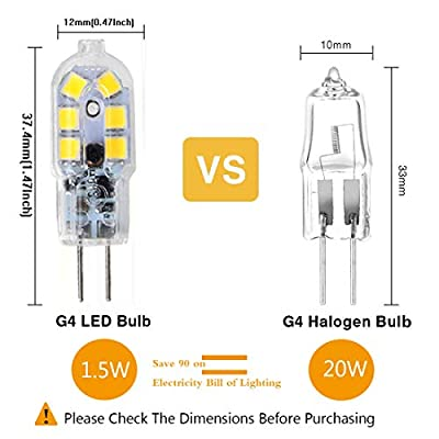 G4 LED Bulb, Bi-Pin Base, 20W Halogen Bulb Equivalent, AC/DC 12 Volt, Warm White 3000K, 10-Pack