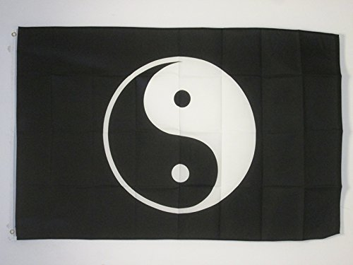 YIN AND YANG FLAG 2' x 3' - TAOISM FLAGS 60 x 90 cm - BANNER 2x3 ft - AZ FLAG (Yin Yang Outdoor Furniture)
