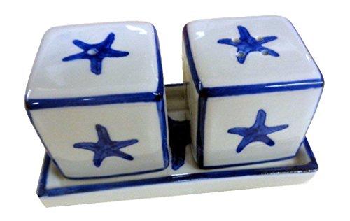 Sea Island Imports Starfish Salt and Pepper Shaker Set on Tray by Sea Island Imports