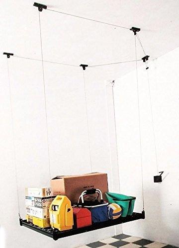 4 ft x 4 ft CellingマウントラックガレージストレージラックHand Hoistシェルフ天井シェルフ B01BEGL08O