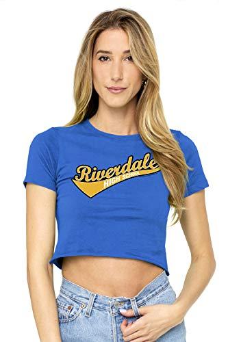 Archie Comics Riverdale LogoJuniors Teen Girls Crop Top T Shirt & Stickers (Small) Royal Blue