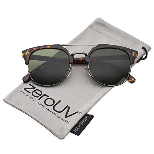zeroUV - Classic Horn Rimmed Crossbar Round Flat Lens Half Frame Sunglasses 50mm (Tortoise-Gunmetal / - Sunglasses Frame Half