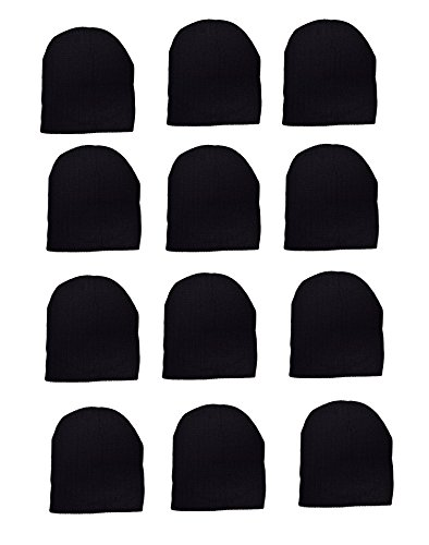 OPT Brand. Wholesale 12 PCS Unisex Knit Short Plain Ribbed Beanie Ski Cap Skull Hat Warm Solid Winter New Blank (Black Only)