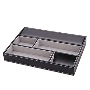 12 Compartments Faux Leather Mens Storage Case Box Tray Office Household Organizer Eyeglasses Eyewear Keys Desk Trinket Container 10.2x7.9x1.6inch Black or Brown (Black)