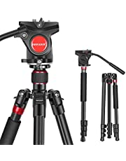Neewer 2-in-1 Aluminum Alloy Camera Tripod Monopod 70.8 inches/180cm with 1/4 and 3/8 inch Screws Fluid Drag Pan Head and Carry Bag for Nikon Canon DSLR Cameras Video Camcorders Load up to 26.5 pounds