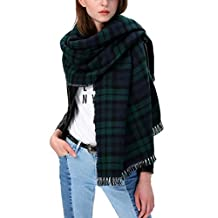 Women's Scarf Plaid Striped Scarves Shawls Blanket Poncho with Fringe Trims (Green-1)