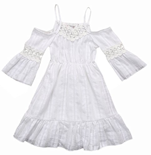 stylesilove Princess Girl Floral Lace Off-Shoulder Wedding Dress Beach Sundress