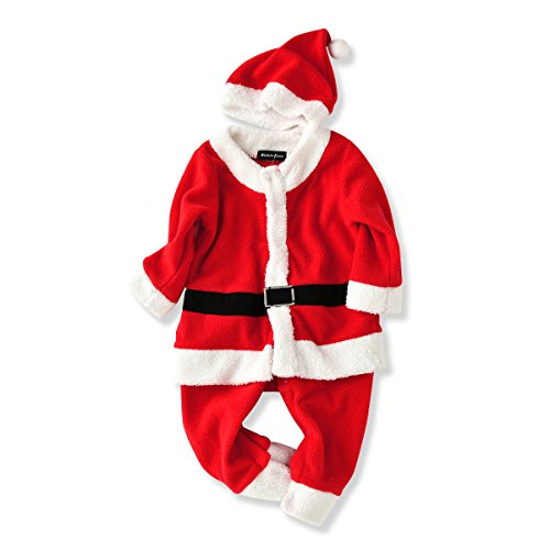 [Lifemall Baby Boys Santa Claus Costume Jumpsuit Romper Christmas with Hat (7-12 Months, Red)] (Infant Santa Costumes)