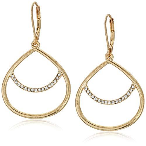 - Anne Klein Women's Gold Tone Post Drop Hoop Earrings, Size: 0