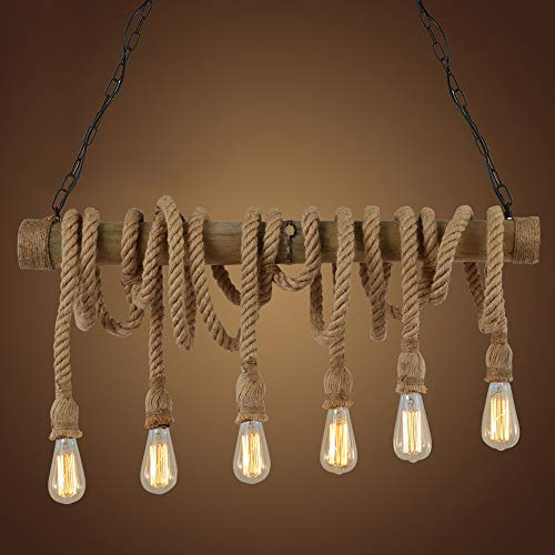 NIUYAO Industrial Vintage Pendant Chandelier Lighting Natural Hemp Rope Bamboo Edison LED Antique Retro Loft Island Pendant Lamp Hanging Light Ceiling Fixture with 6 Lights 429654