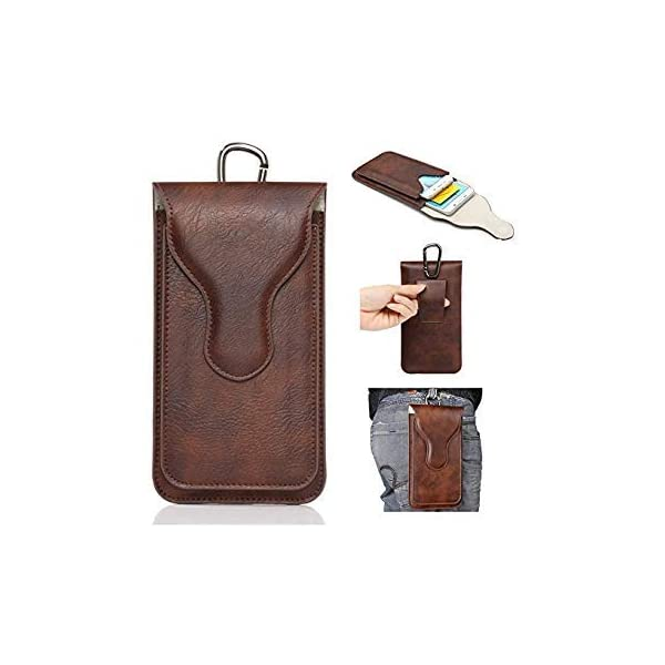 Realtech Multi Function Leather Double Mobile Phone Belt Clip Case for Samsung Galaxy S21 Ultra 5G - Brown (2 Pocket for… 2021 July Premium Synthetic Leather Pouch with Belt clip/Belt loop . Light Weight, Durable, and Soft. Protectyour Phone against Screen Damage and other accidental damages. The Brown Premium Leather Pouch Case Belt Clip Holster enables you to protect and carry your device. This holster will provide maximum protection against scratches and scuffs while preserving the condition of your device. Crafted with premium PU leather, this pouch is durable, long lasting, and adds a stylish way to transport your mobile device. The inner walls consist of a scratch resistant fabric. The pouch is designed to clip-on and/or loop through your belt for a comfortable and secure way of transport.