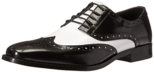 STACY ADAMS Men's Tinsley-Wingtip Oxford, Black/White, 11 M ()