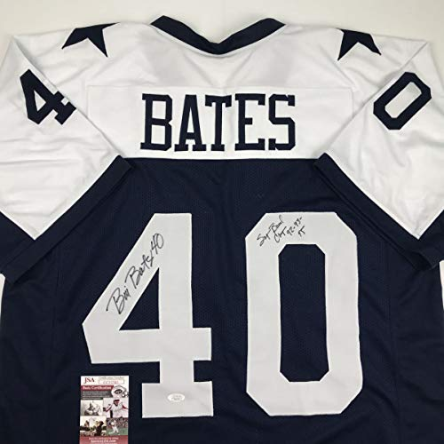 Autographed/Signed Bill Bates Super Bowl Champ 92-93-95 Dallas Thanksgiving Day Football Jersey JSA COA ()