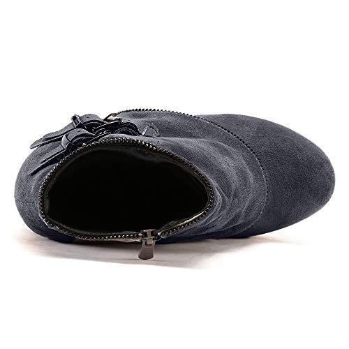 Invierno Del Botas Botas Encaje zarlle Talón Zapatos Pie 3 Fiesta botas Negro Casuales Moda Deportivos Dedo Cuña Cuero Mujeres Altura Otoño Redondo Boots De wC8RxqRY