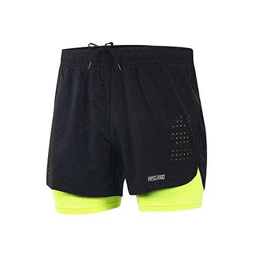 ARSUXEO Men's Active Training Running Shorts 2 in 1 Green Size (Running Mens Shorts)