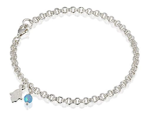 Bracelet Sterling Spiral Silver (925 Sterling Silver Charm Bracelet with Created Blue Fire Opal Bead and Hamsa Hand of God Charms, 7.25